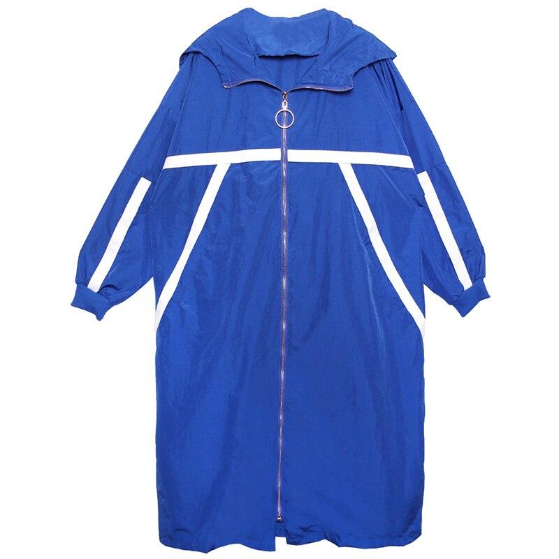 Trench Primavera Casual Impermeabili Cappuccio Grandi Cappotto 2019 Formato Donne Modo Nuovo Più Dimensioni Lungo Con Per blue Streetwear Black Di Delle Arrivo Sottile E Il L dPPnO