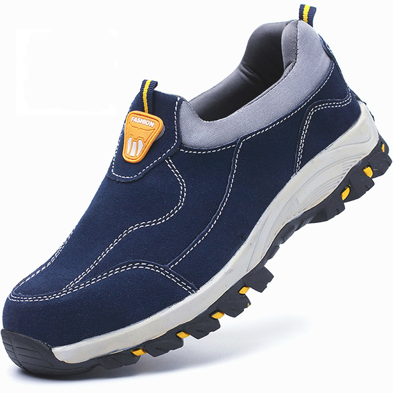 mens fashion breathable blue steel toe cap work safety shoes slip-on cow suede leather anti-pierce security boots protective man halinfer men safety work shoes steel toe caps 2018 fashion casual breathable slip on safety boots anti pierce black sneaker shoe