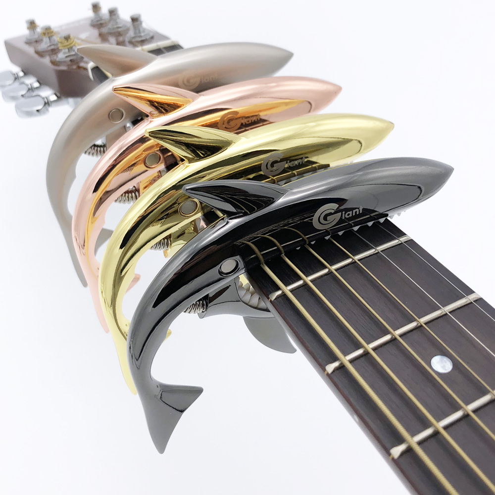 Shark Guitar Capo String Capotraste Violao for Acoustic Electric Guitarra Bass 6 Strings 10pcsaudio speaker screw banana gold plate plugs connectors 4mm in stock free shipping black red facotry online wholesale golden