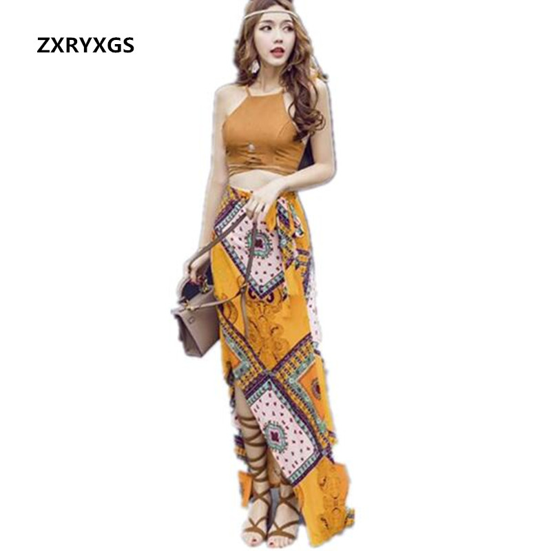 Seaside Beach on Vacation 2017 Summer New Korean Women Clothing Skirt Suit Suspenders Tops Bohemian Long Skirt Two-piece Set outfits para playa mujer 2019