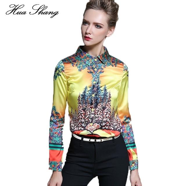 c436a46066 Huashang Women Work Wear Office Shirt Long Sleeve Plus Size Women Tops  Yellow Floral Print Chiffon