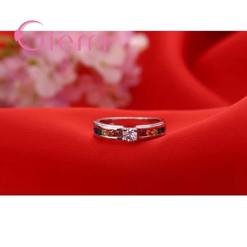 Baru Kedatangan Pelangi Berwarna-warni Crystal 925 Sterling Silver Cincin untuk Wanita Wanita Pesta Pernikahan Pertunangan Perhiasan