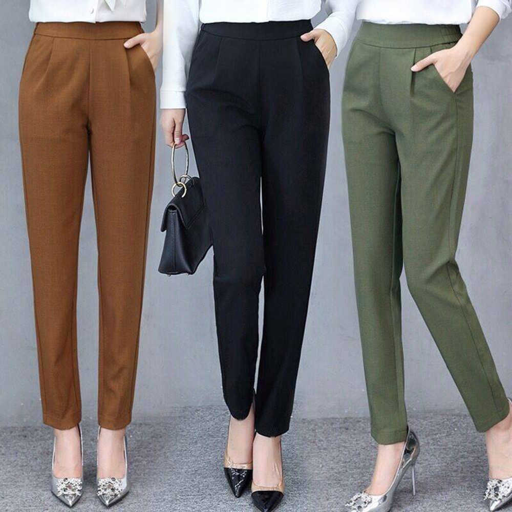 Women's Pants Casual Fashion Solid Mid Elastic Waist Long Trousers Office Plus Size Women Joggers Sweat Skinny Pencil Pant Black