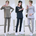 Casual Maternity Sleepwear Soft Cotton Pregnant Pajamas Set Long Sleeve Tops&Pants Plus Size Overalls Maternity Pajamas B118