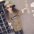 Hu sol por atacado Novos 2017 Meninas primavera Tricô longo padrão de grãos leopardo T-shirt