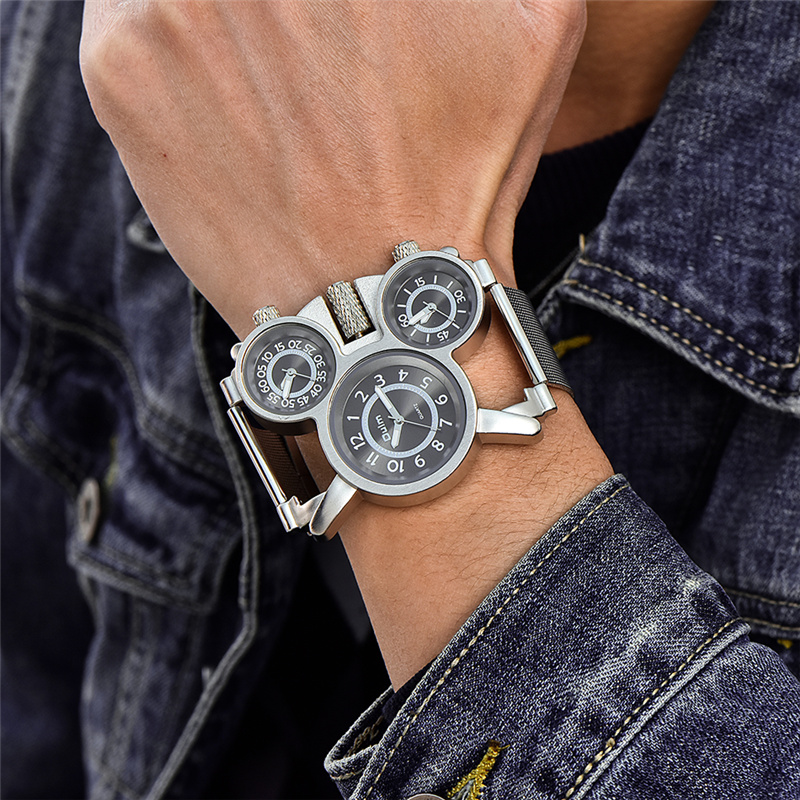 Oulm 1167 Mesh Steel Watch Three Time Zone Display Outdoor Sport Watches Men Casual Brand Quartz Wristwatch Erkek Kol Saati