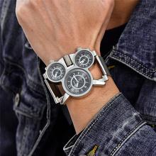 Oulm 1167 siatka stalowa zegarek trzy strefa czasowa zegarki sportowe mężczyźni na co dzień zegarek kwarcowy marki erkek kol saati tanie tanio Kwarcowe Zegarki Na Rękę 20mm QUARTZ Stop Okrągły Nie wodoodporne 27 5cm 10mm Hardlex OULM Multiple Time Zone Watch 1167