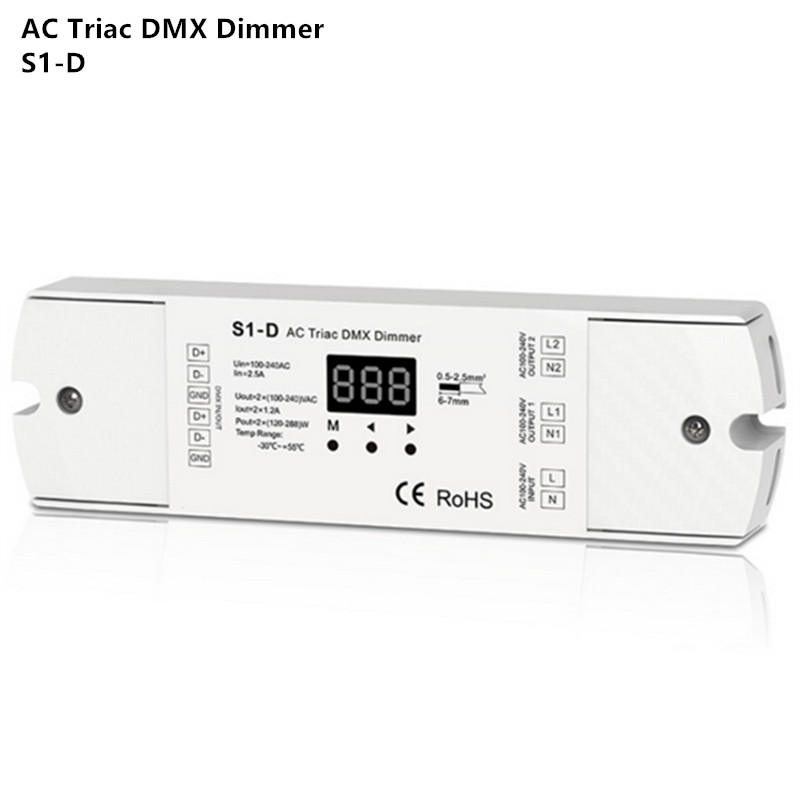 ac100 240v 288w 2 channel triac dmx dimmer  dual channel