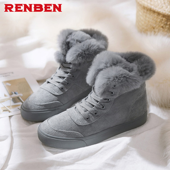 3bff65a7342e Custom Review Anti-skid Botas Mujer Zapatos 2018 Women Snow Boots Winter  Warm Fur Ankle Boots Couple Thick Sole Woman Flats Cotton Shoes