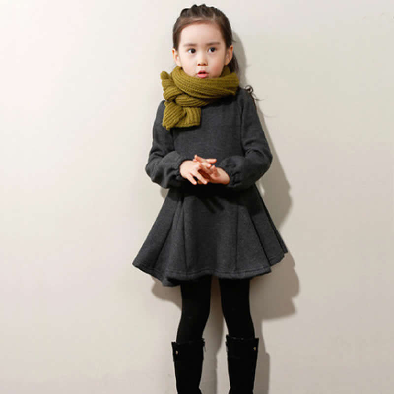 Spring / winter Girls Princess Dresses Children Bow Long Sleeved Cashmere Dress Costume for Kids Clothes