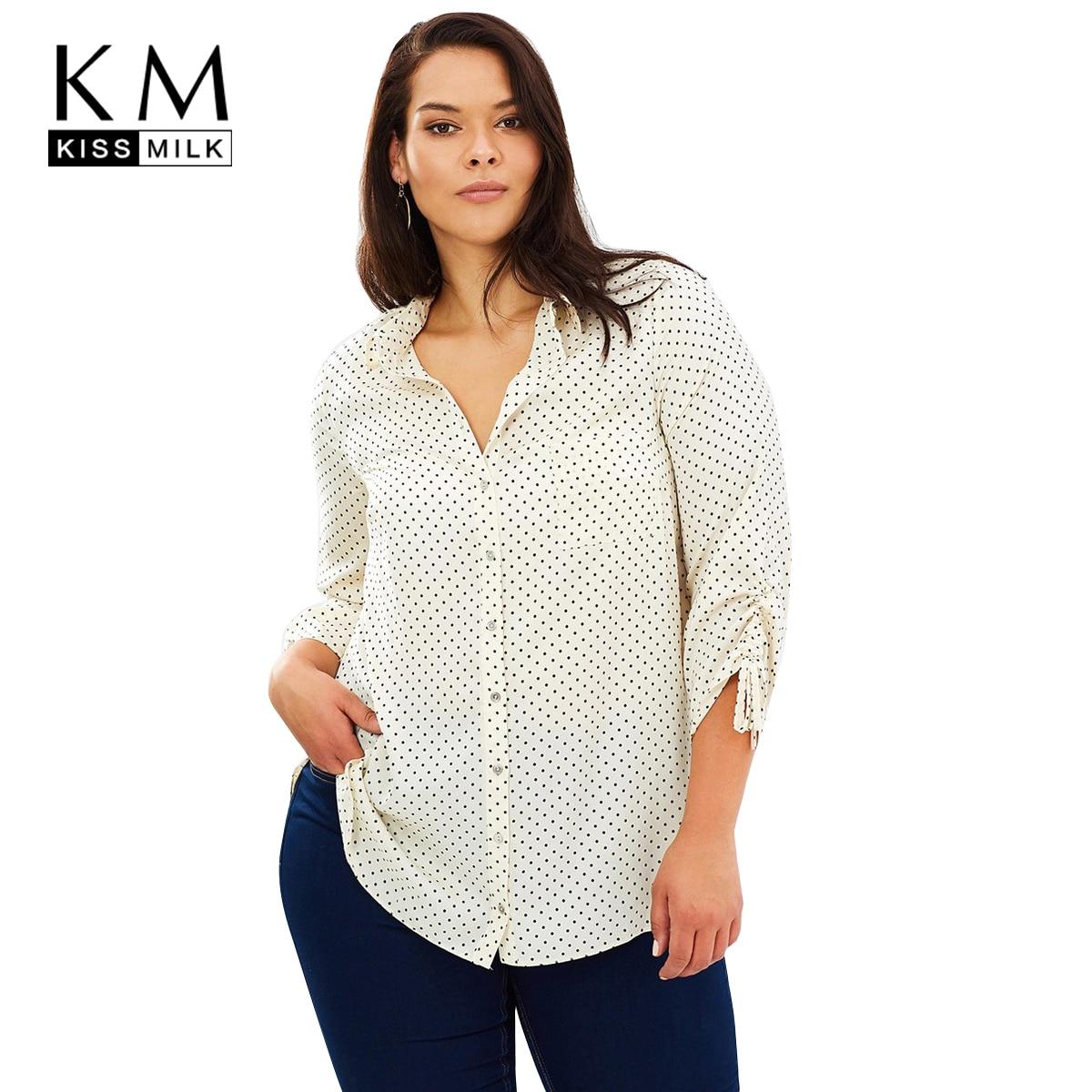2ed4a0b00f2 Kissmilk Plus Size Polka Dot Long Sleeve Button Down Turn-down Blouses  Office Lady Female