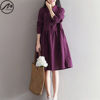 MIWIMD Plus Size Women Spring Dresses 2017 New Fashion Casual Loose Solid Color Long Sleeves Vintage