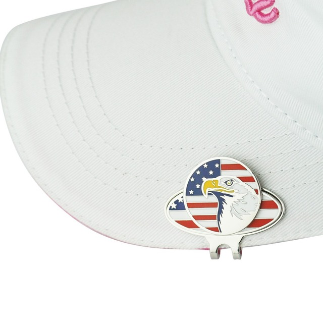 USA Flag Golf Hat Clips with Flag Eagle Magnetic Golf Ball Marker-in ... c565cdf3652
