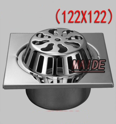 Square 4 Inch 122*122mm SUS304 Stainless Steel Balcony Floor Drain Garden, Outdoor Large
