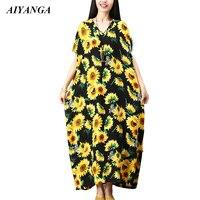 AIYANGA sunflower Print Dresses For Women 2018 Summer Short Sleeve V Neck Long Dress Plus Size loose Dress Female Autumn Chic