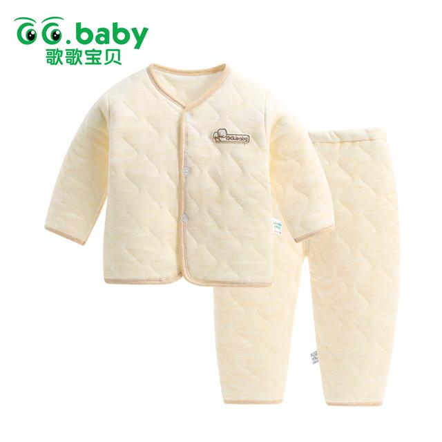 La moda de Nueva 2 unidades Set Otoño Invierno Ropa de Bebé de Algodón Set Bebes Traje Caliente Tops Pantalones Bebé Recién Nacido Niña Niño Arropa Sistemas
