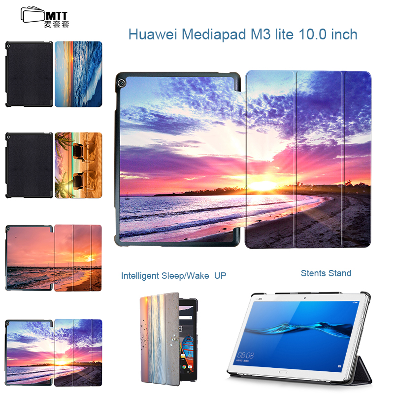 MTT Case Cover for Huawei MediaPad M3 Lite 10 10.1 Inch Printing Seascape Tri-fold PU Leather Flip Shell with Stand Tablet Cases for huawei mediapad m3 lite 8 0 inch cpn al00 m3lite tablet case 360 rotating bracket flip stand leather cover