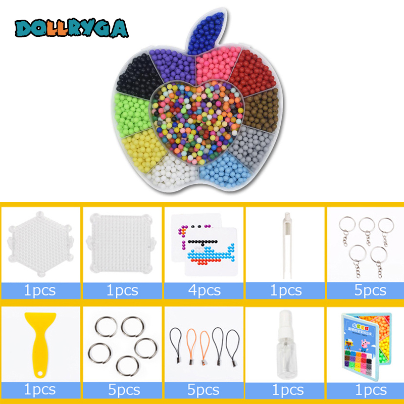 DOLLRYGA 2000pcs/set Boxed Magical Bead Solid Refill Pack Water Sticky Beads Set Puzzle Toy For Children