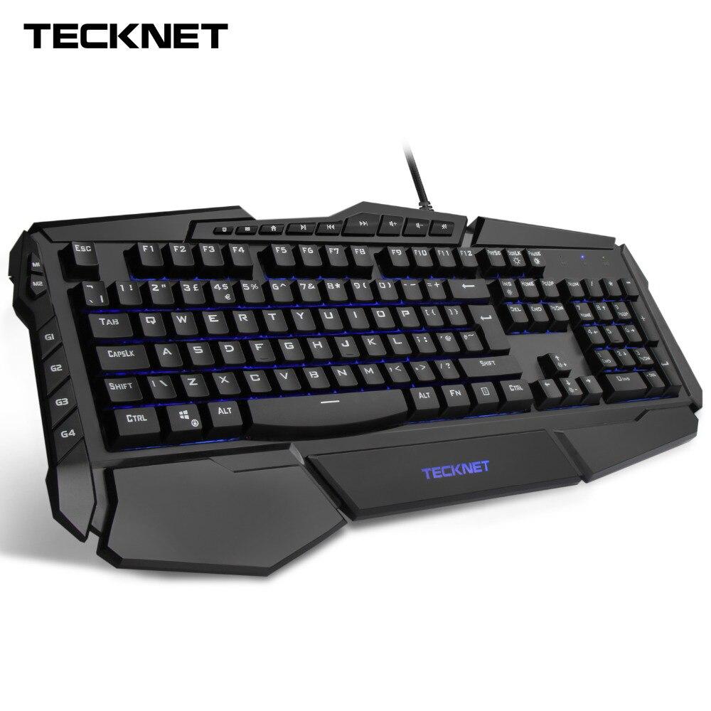 TeckNet Programmabile Gaming Tastiera 7-color LED Arcobaleno Retroilluminato Tastiere Da Gioco di Acqua-Resistente Design di Layout UK per Finestre