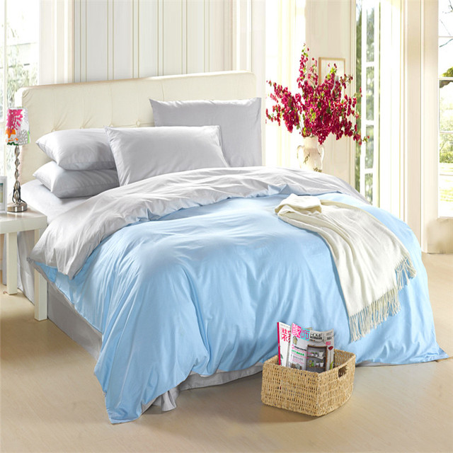 Light Blue Silver Grey Bedding Set King Size Queen Quilt