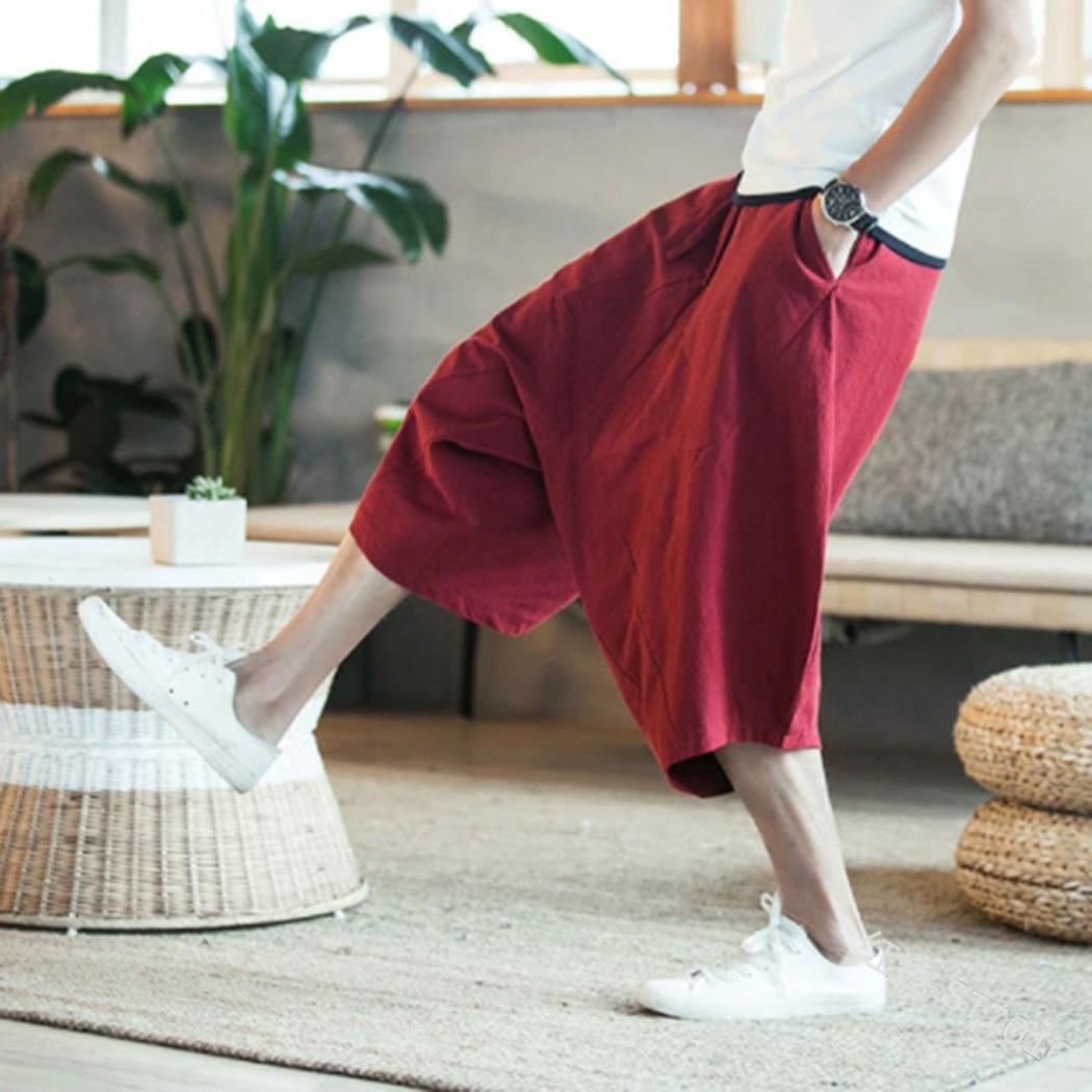 Harem Pants Pocket Trousers Male Hip-Hop-Clothes Loose Baggy Plus-Size Cotton Mens Summer