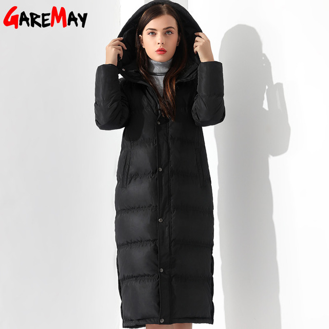 bafd8f7be963 Vers le bas Vestes Femmes Manteau D hiver Chaud Extra Long Veste Femme  Manteaux Noir