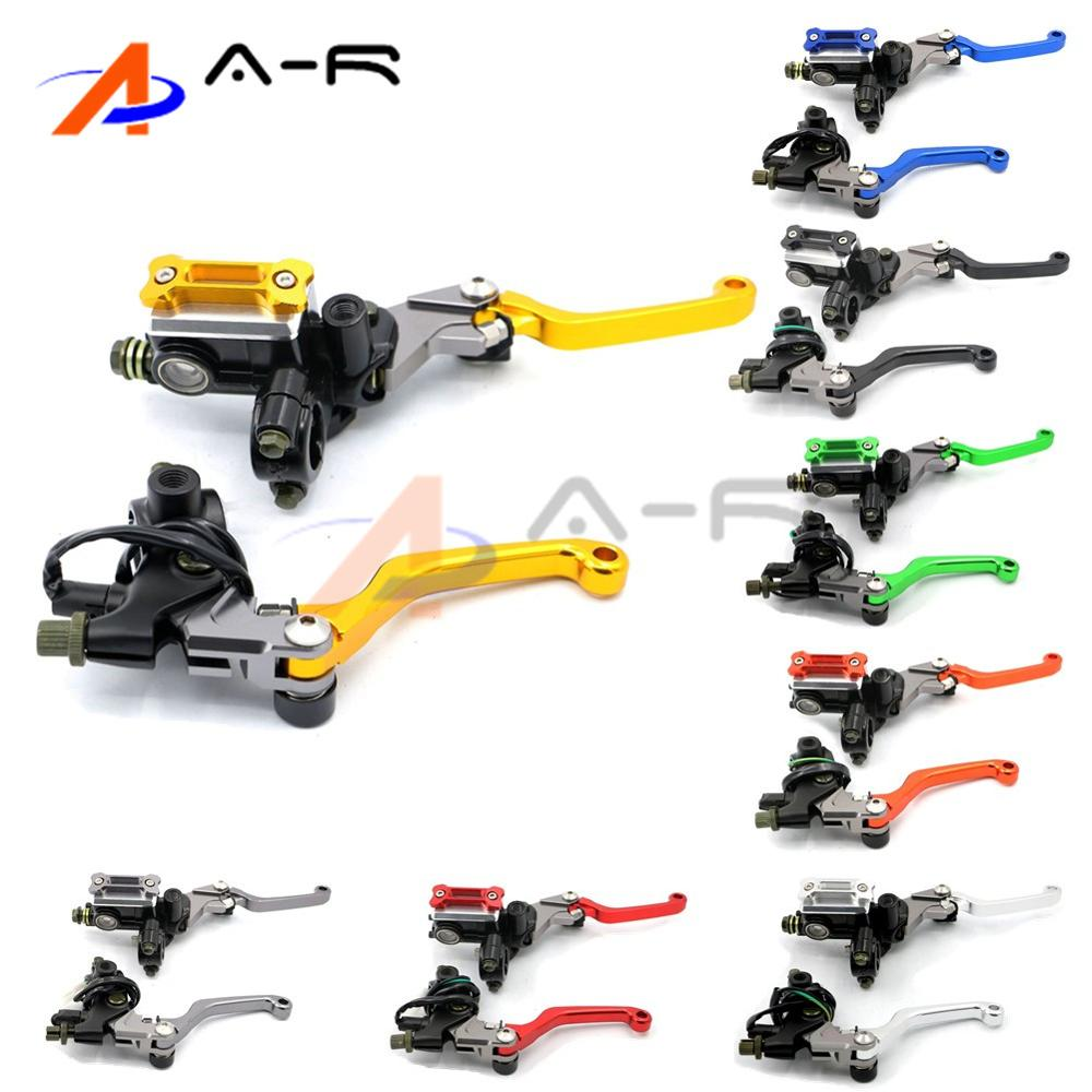 2015 New 7/8 CNC Motorcycle Brake Master Cylinder Reservoir Levers for Suzuki RM 85 125 250 RMZ 450 DR Free Shipping D10