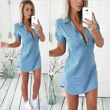 new summer and spring short sleeve blue denim blouse woman fashionhot chic casual v-neck long female denim skirts