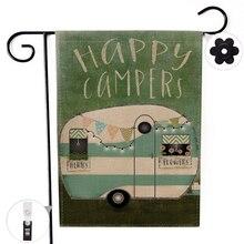 Двусторонний счастливый кемперский лагерь Декор Садовый флаг баннер с ветрозащитной резиновой фиксатор клип 12,5 ''x 18,5'' 32x47 см