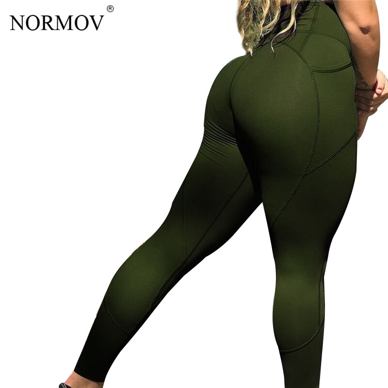NORMOV Solid Black High Waist   Leggings   Women Clothing Sexy Push Up Leggins Female Skinny Trousers Fitness Gothics 5 Color