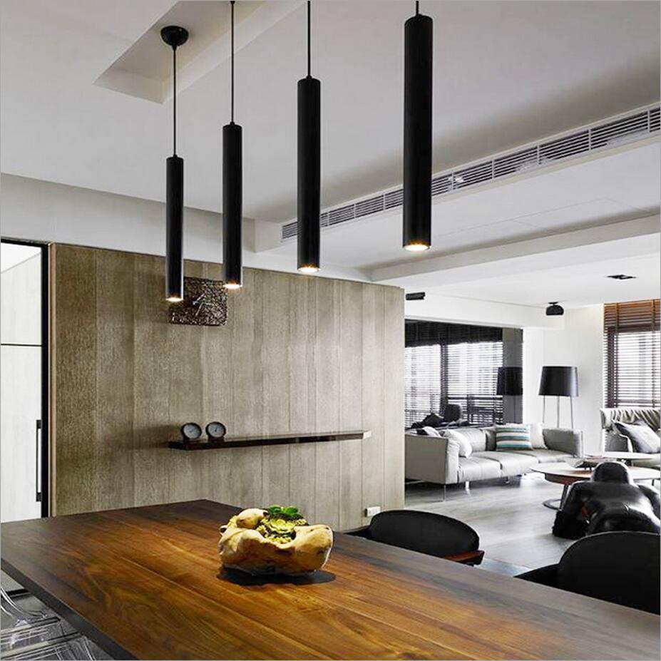 Cylinder Pipe Led Pendant Lights For Dining Room Living
