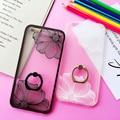 Ring Grip Flower Pattern Phone Case For iPhone 7 7plus 6 6s 6splus 6plus hard Back Cover Cases half rose capa fundas