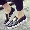 3color Black Beige Red Fashion Women Flats Shoes Casual Woman Serpentine Loafers Metal Zipper Lazy Shoes Free shipping