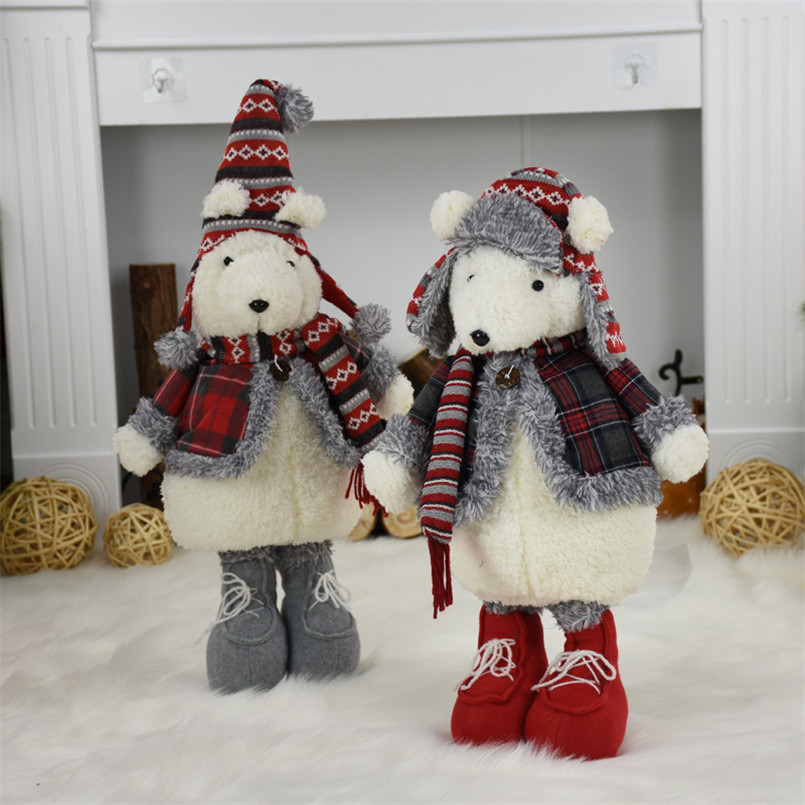 2pcs/lot Merry Christmas New Year Birthday Gift Cute Plush Bear Dolls Christmas Decoration For Home Office Lovely Standing Toys