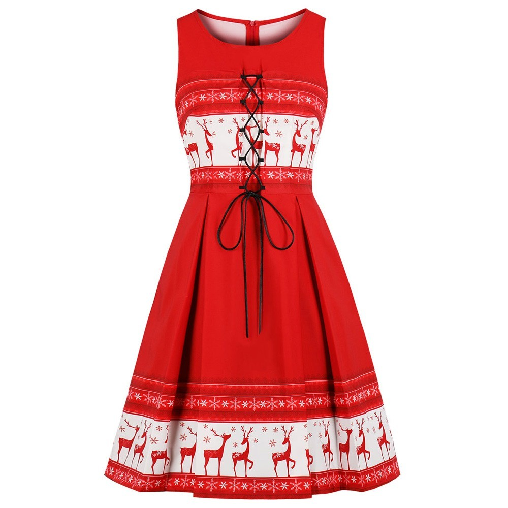 2bdbc07b502 S-4XL Plus Size Christmas Dress Elk Print Women Vintage Red Dress 3XL Lace  Up View larger