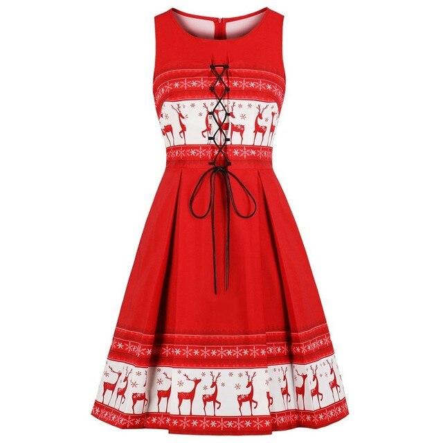 90866aac3cc9 S-4XL Plus Size Christmas Dress Elk Print Women Vintage Red Dress 3XL Lace  Up Party Vestidos Robe Swing Retro Dress Femme