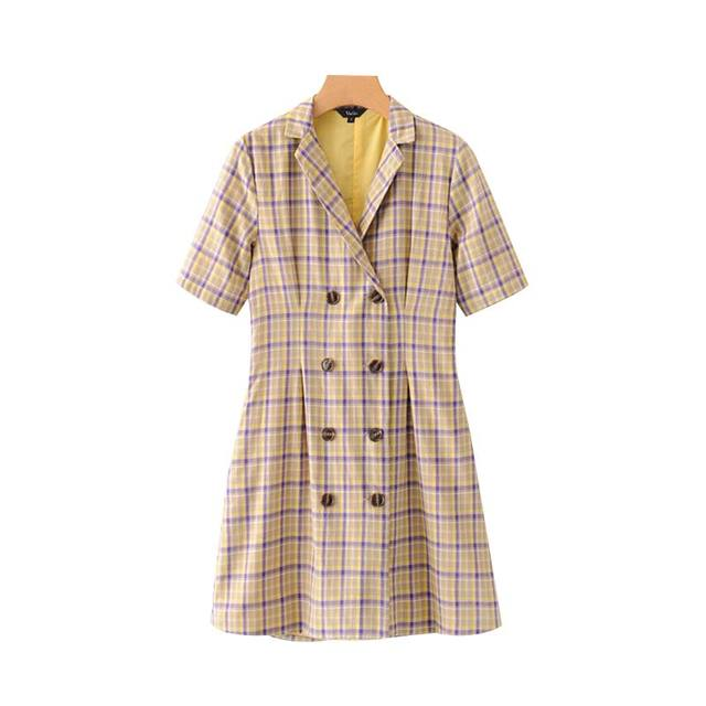 Women Sweet Plaid Print...