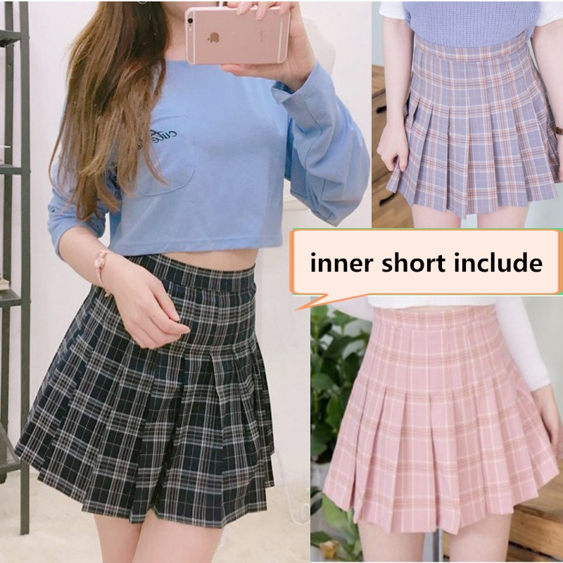 high waist GIRL pleated skirts Kawaii Harajuku Skirts women girls lolita a-line sailor skirt Plaid skirt Preppy school uniform