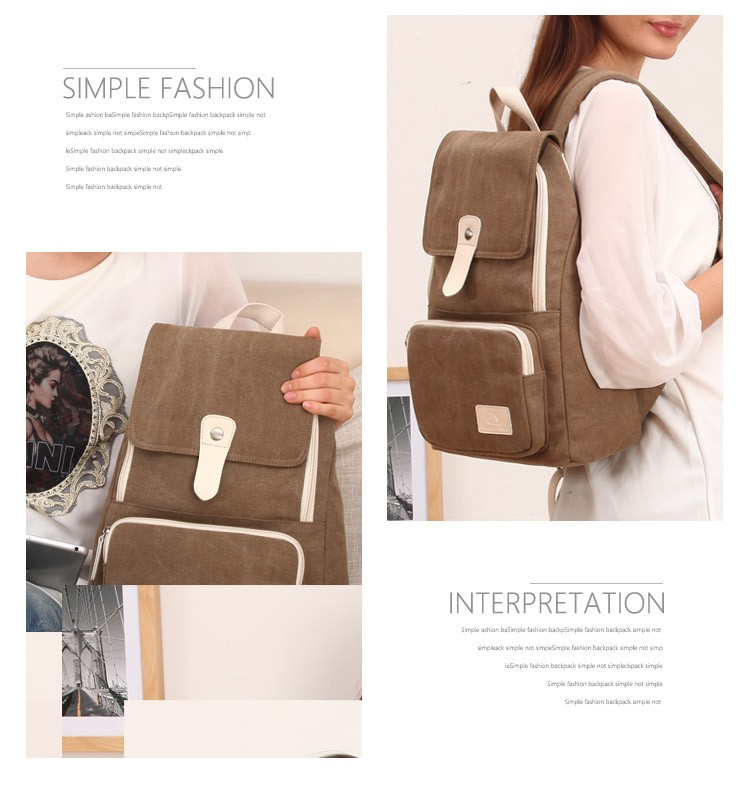Canvasartisan top quality women canvas backpack new fashion style leisure female travel rucksuck backpacks various color 12