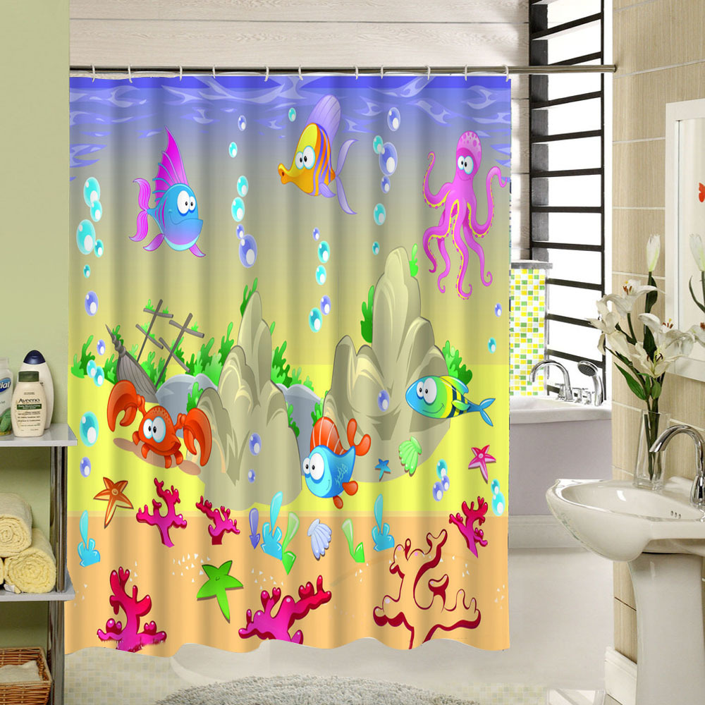 Fish shower curtains for kids - Kids Shower Curtain Polyester Fabric 3d Print Waterproof Bathroom Sea World Pattern Fish Turtle Custom Bathtub