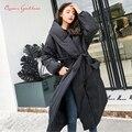 Зимняя специальная потрясающая стильная свободная Длинная женская куртка-пуховик однотонная и большие размеры, парки, теплая верхняя одеж...