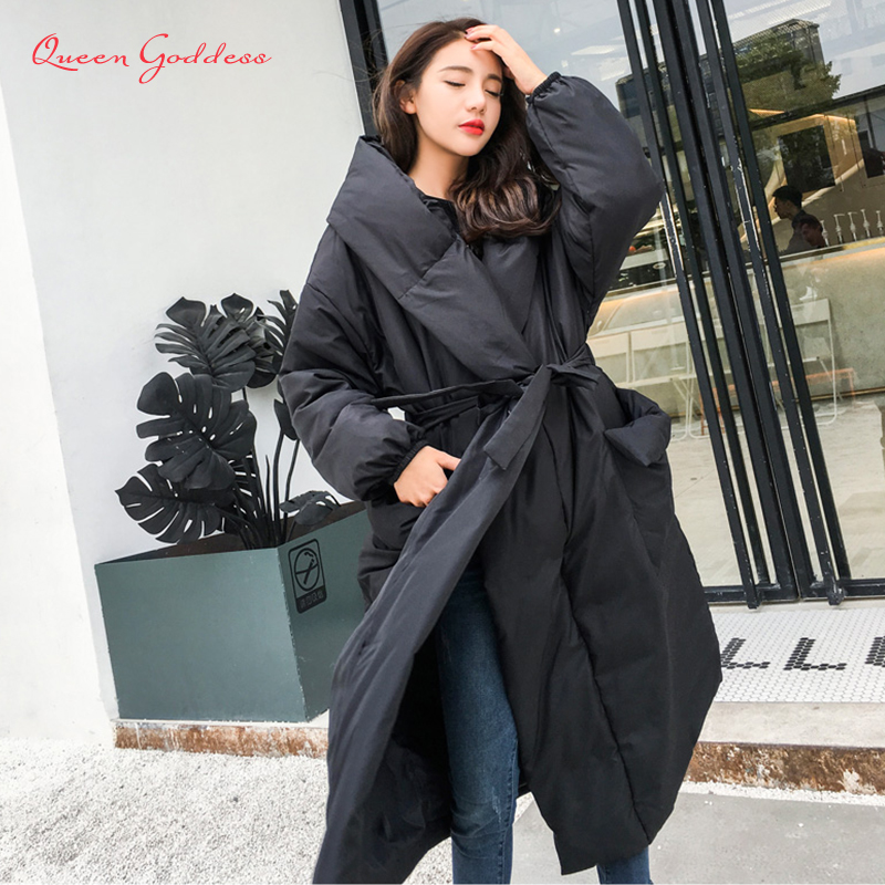 Winter Special Amazing style loose long down women jacket solid color and plus size parkas warm outwear new listing young lady-in Down Coats from Women's Clothing    1