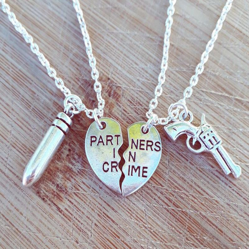 Partners in Crime Necklaces Pendant Best Friends Choker Sweapon Gun Bullet Necklace For Women Couple Jewelry Bff Friendship Gift