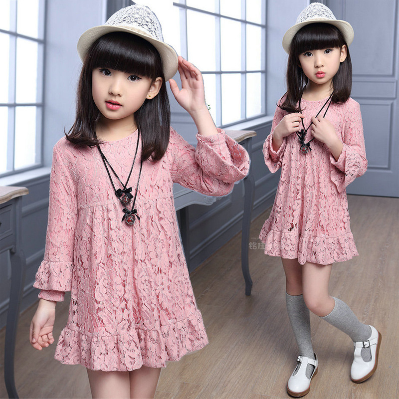 4 <font><b>5</b></font> 6 7 9 8 10 11 12 Years Kids Girls Spring Autumn Long Sleeve Lace Dress For Girls Pink Red Black Princess Dress New image