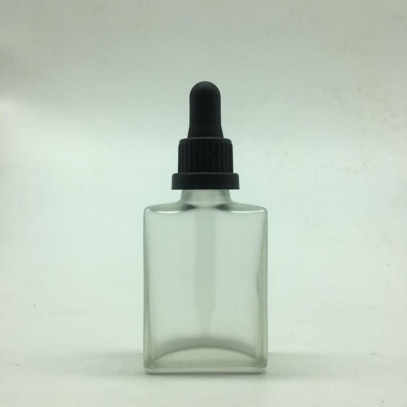 100 pcs 30ml Empty matte clear rectangle Glass Bottles With tamper proof cap 1oz suqare Glass Dropper bottle E liquid bottle
