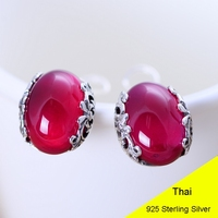 925 Sterling Silver Oval Red Corundum Clip Earring Women Vintage Thai Silver Gift Brincos Aretes Jewelry CH048261