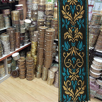 Turquoise Blue Embroidery Tape For Bed Cover Rim Pillow Rim Quilt For Cover Edge For Curtain