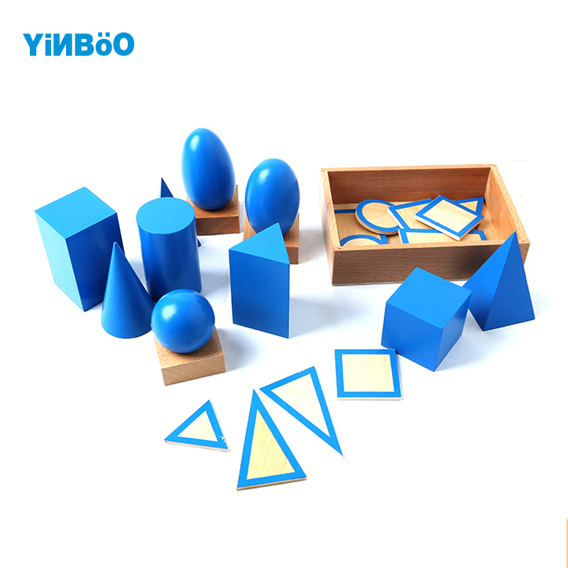 Baby font b Toy b font Montessori Geometric Solids with Stands Bases and Box Early Childhood
