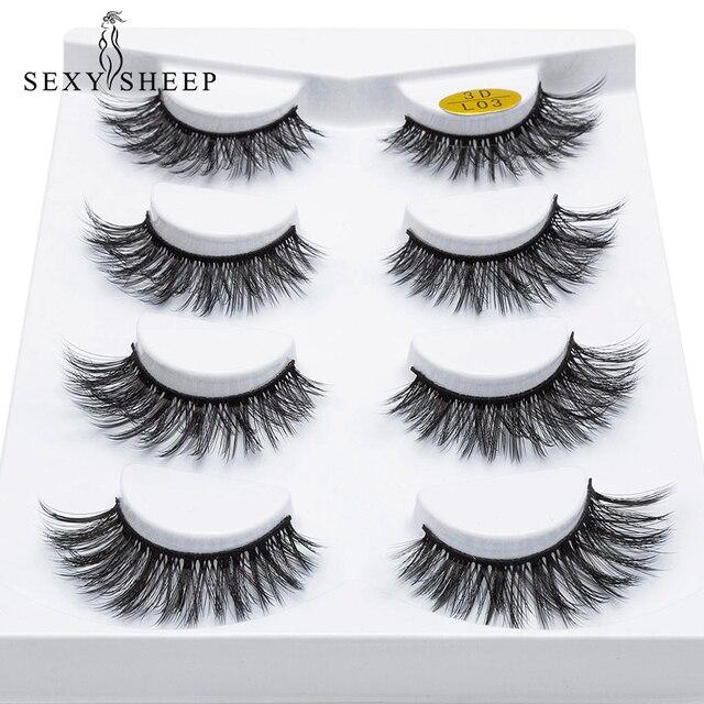 SEXYSHEEP 4/8 pairs 3D Mink Lashes Natural False Eyelashes Dramatic Volume Fake Lashes Makeup Eyelash Extension Silk Eyelashes 3