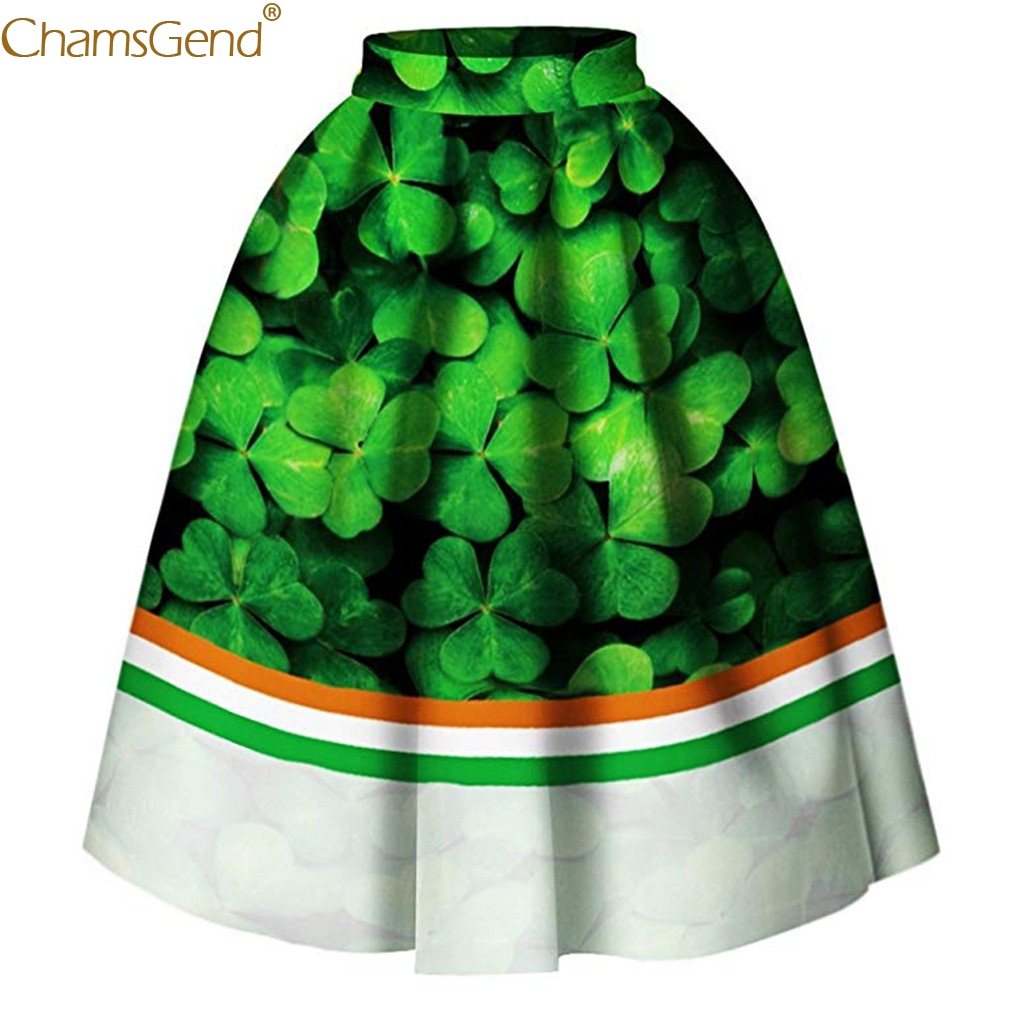 Chamsgend skirts womens High Waist Printed Pleated Flared Midi Skirt Lady Black Green Party Casual Skirts Pleated Winter Jun11